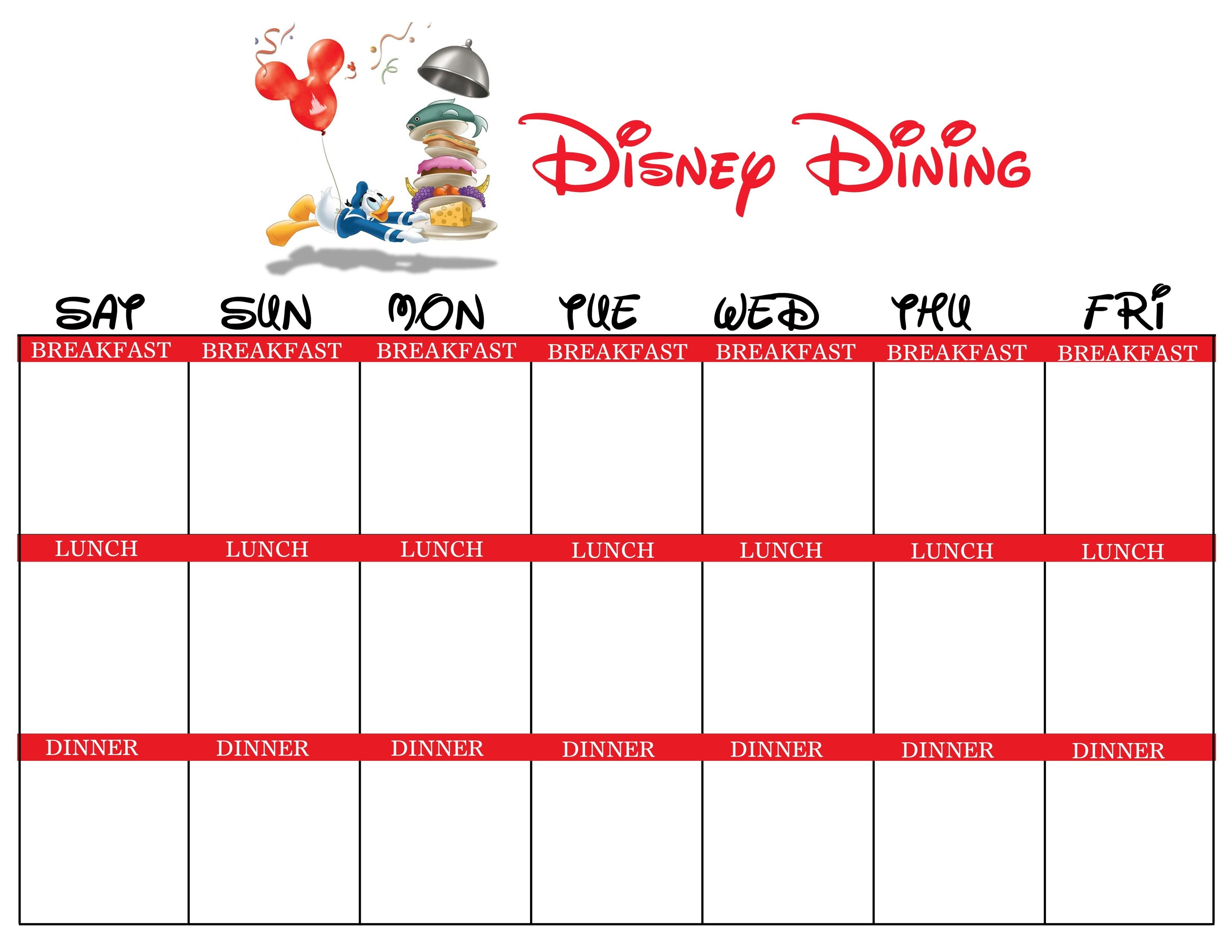 Disney World Itinerary Template For November