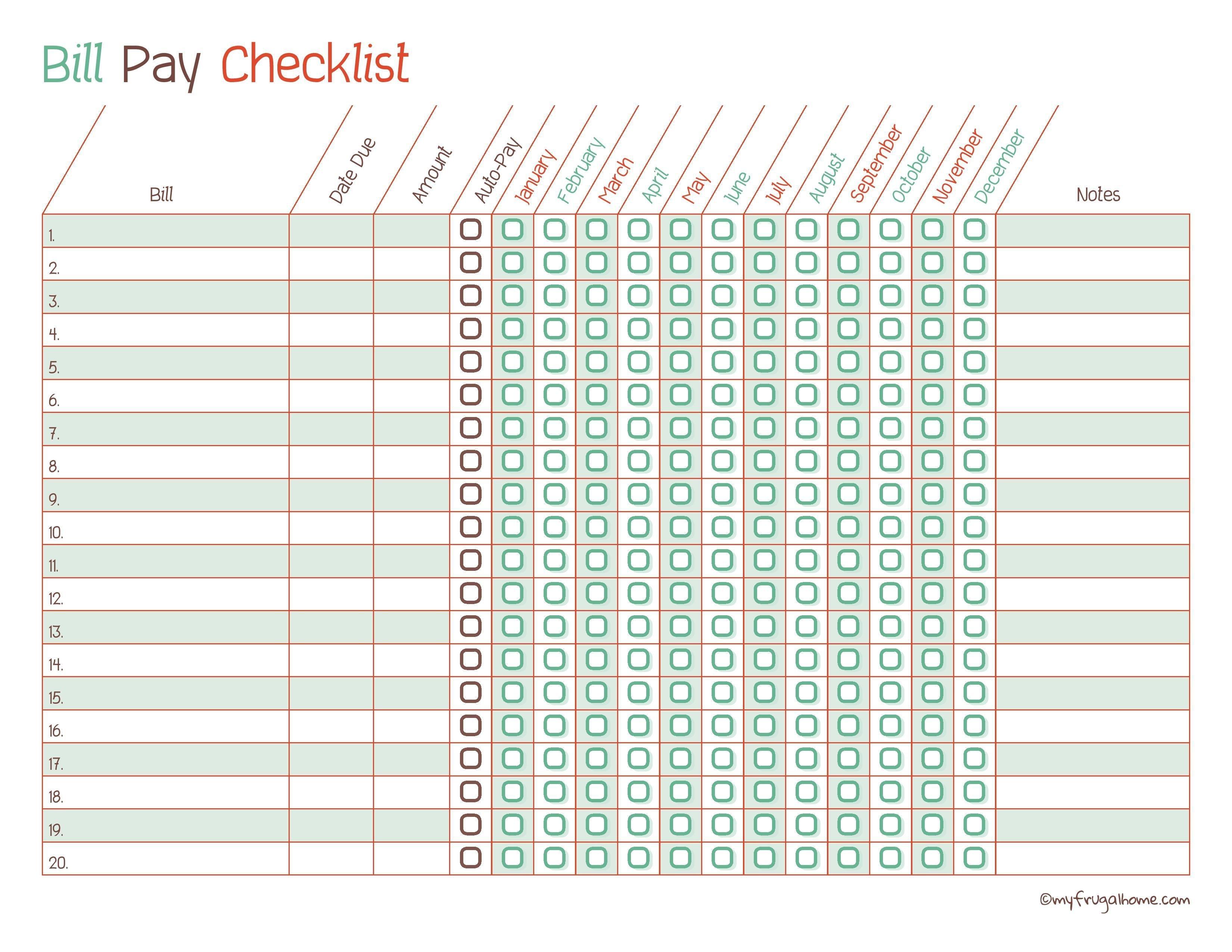 Blank Chart For Monthly Bills   Calendar Template Printable