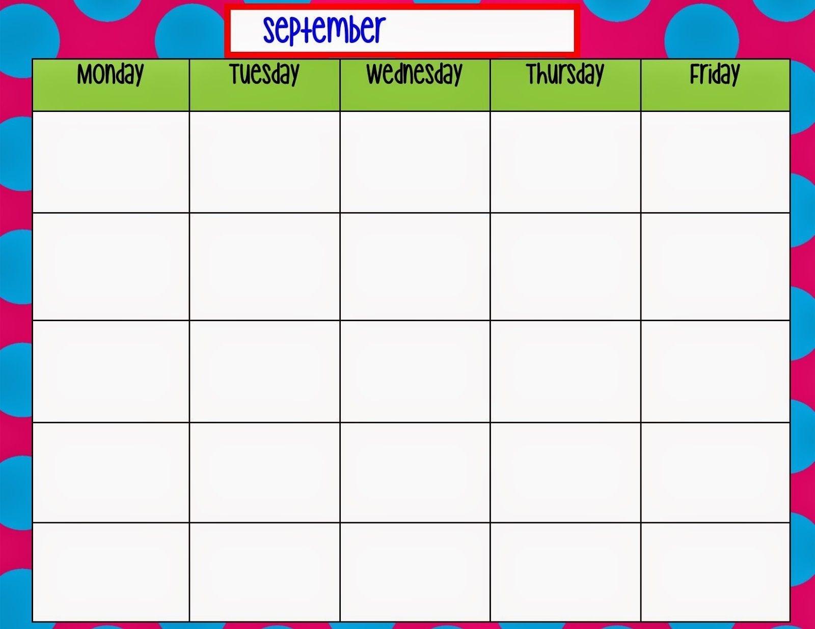 Blank Monday Through Friday Template