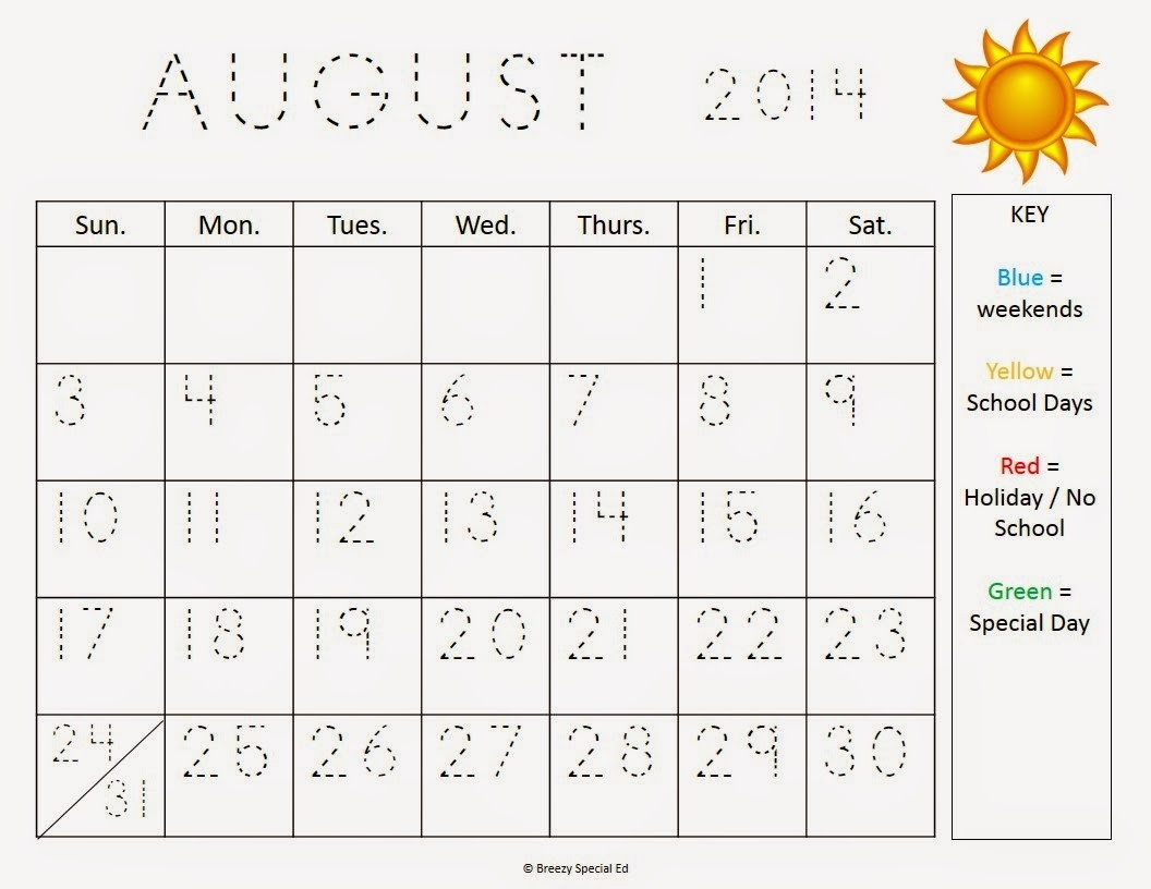 School Monthly Calendar No Weekends
