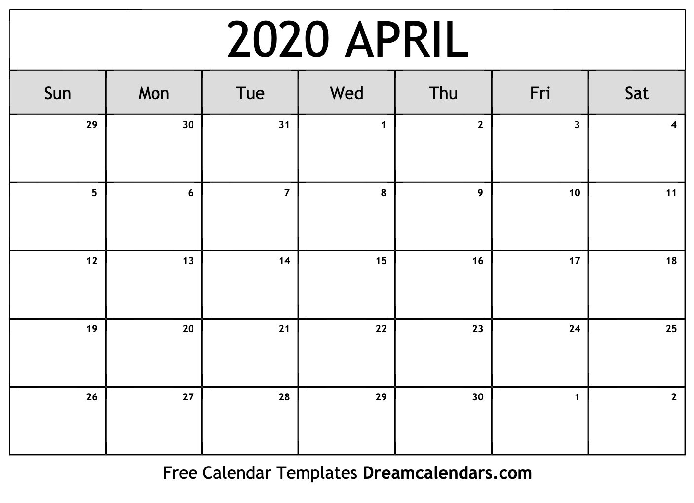 Blank Calendar Worksheet For April