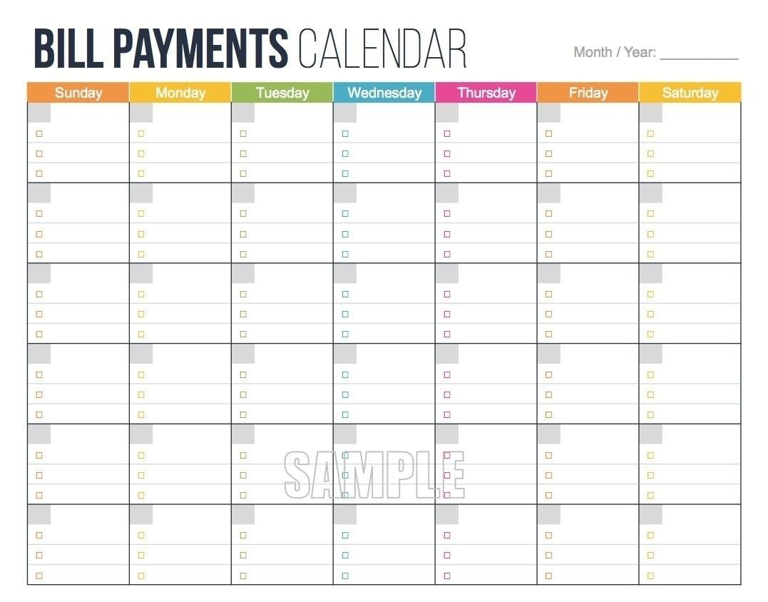Printable Bill Calendar 2020 Monthly   Calendar Template ...