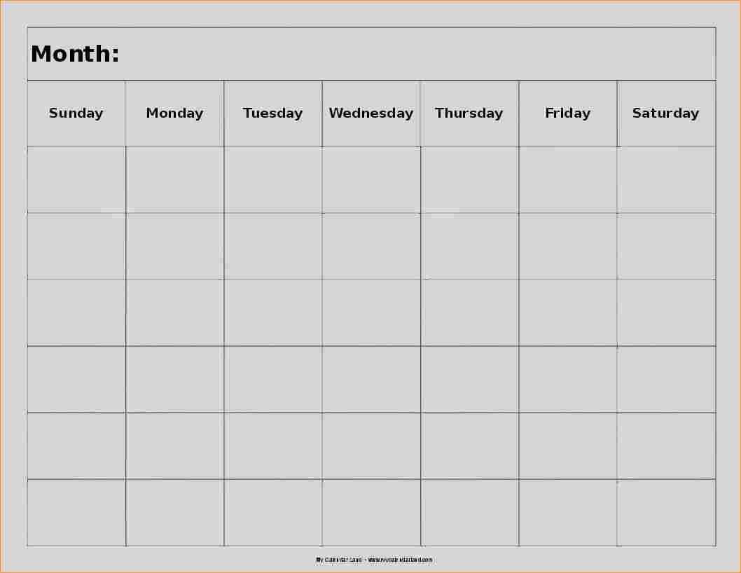 8 Week Blank Calendar Printable | Calendar Template Printable
