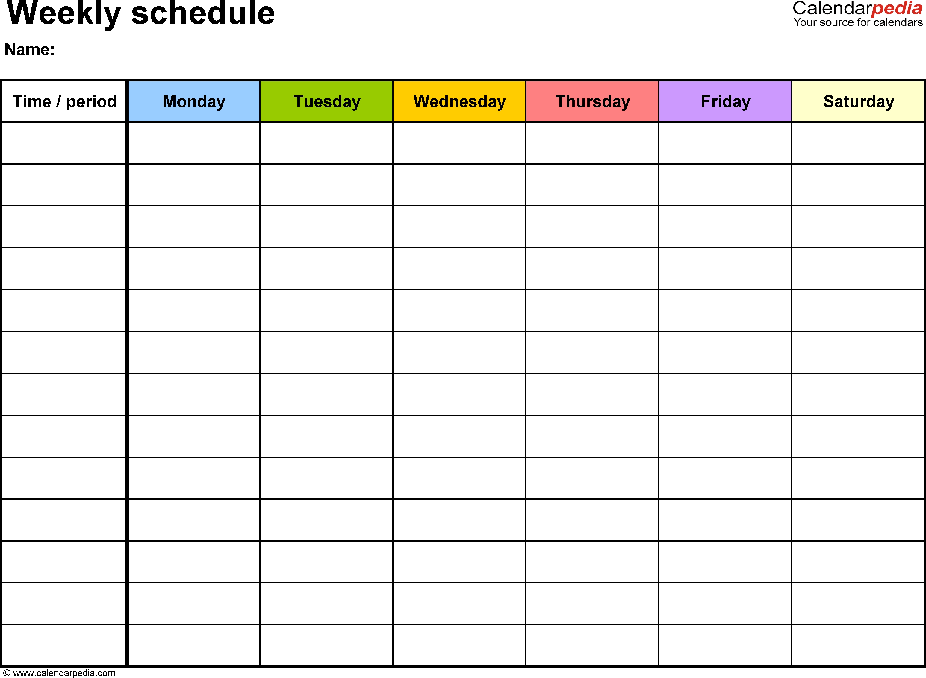 Mon To Friday Monthly Calendar Templates