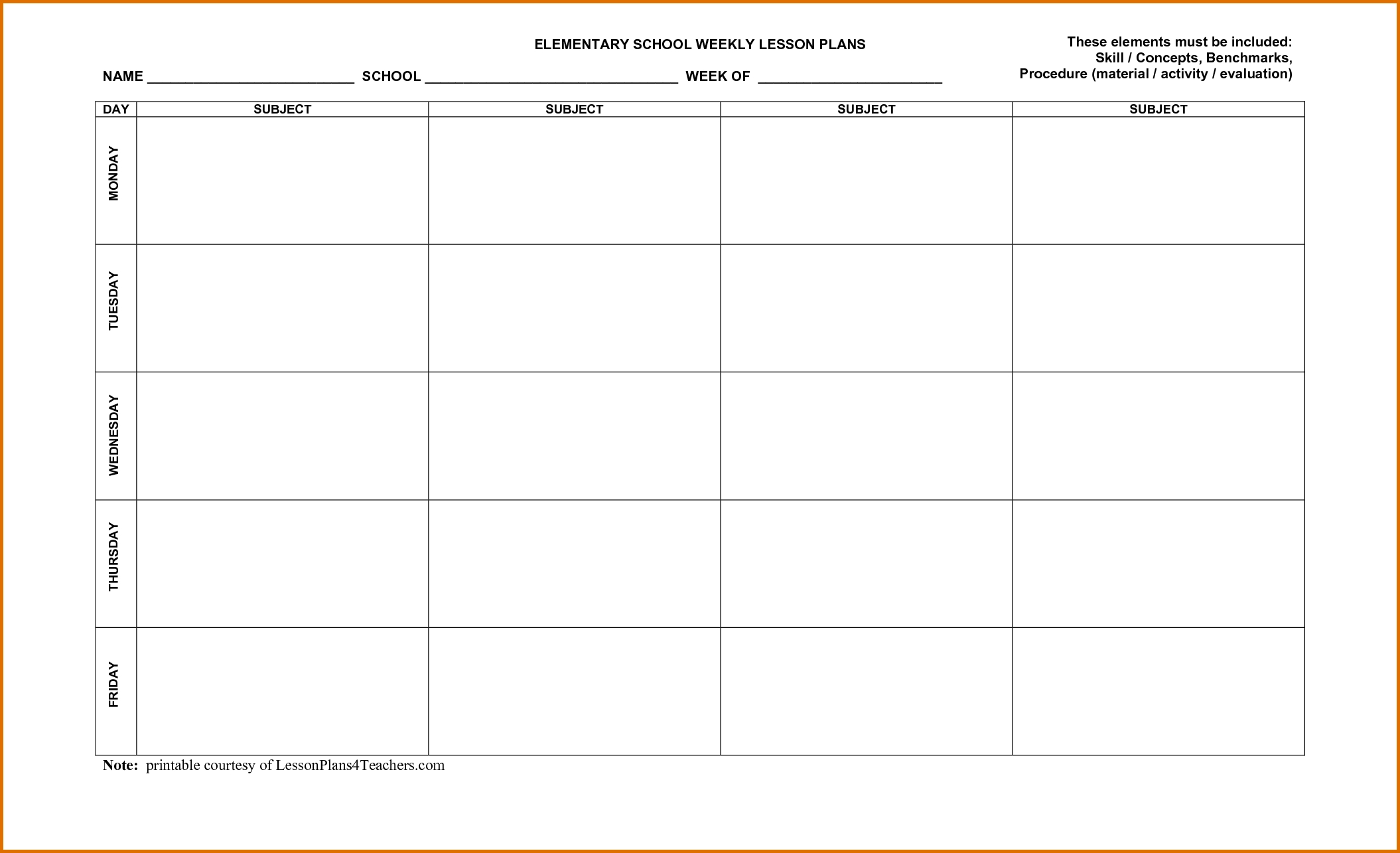 Weekly Lesson Plan Calendar Template