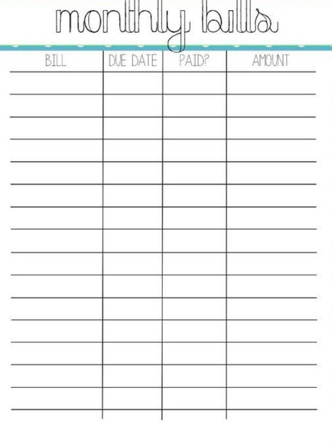 Monthly Bill Pay Calendar Printable