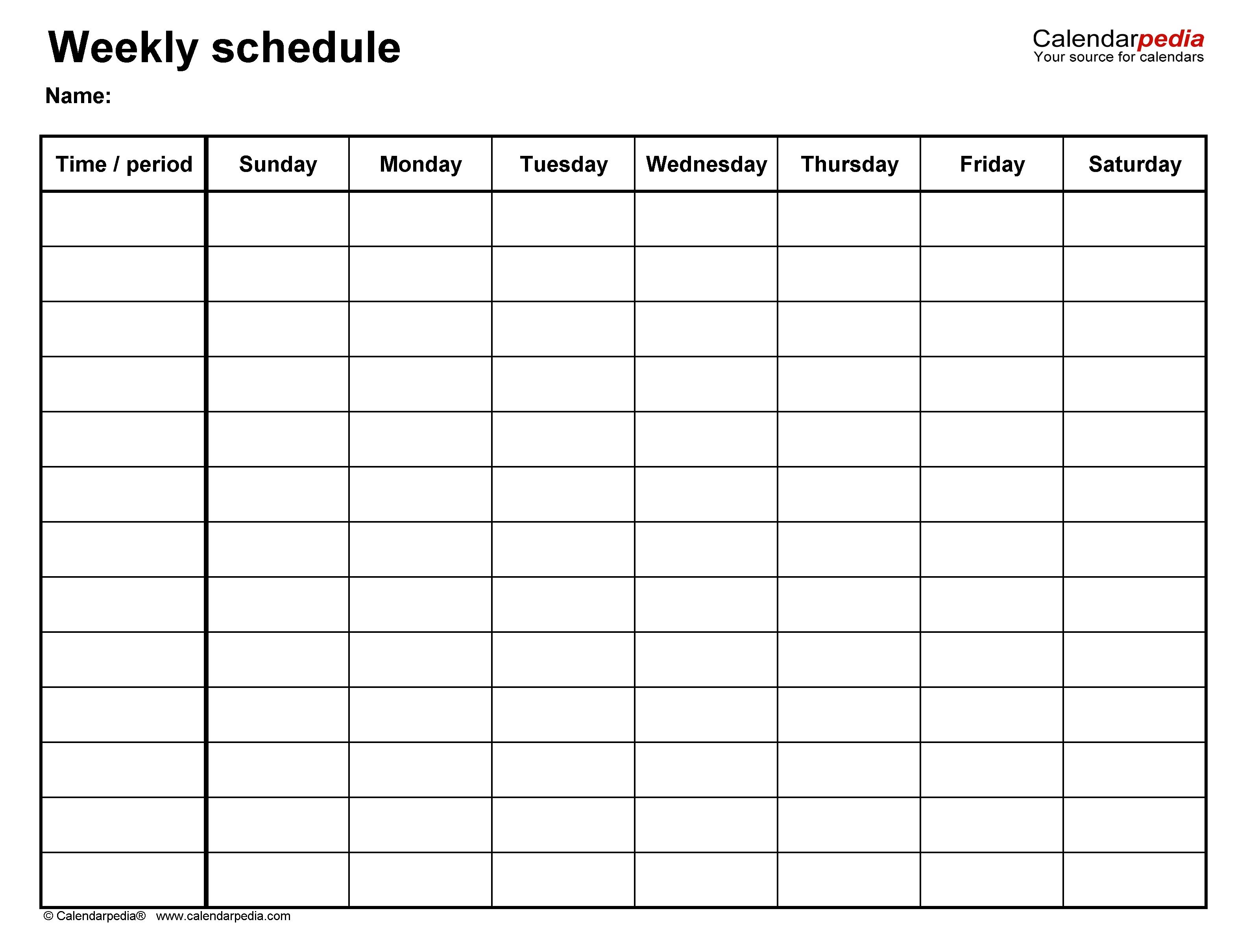 Blank Academic Week By Week Calendar | Calendar Template ...
