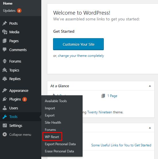 wp eklenti sıfırlama ayarı