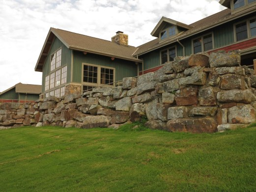 Portion of Lodge at Mt. Magazine and Skycrest Restaurant above 1940 WPA stone wall