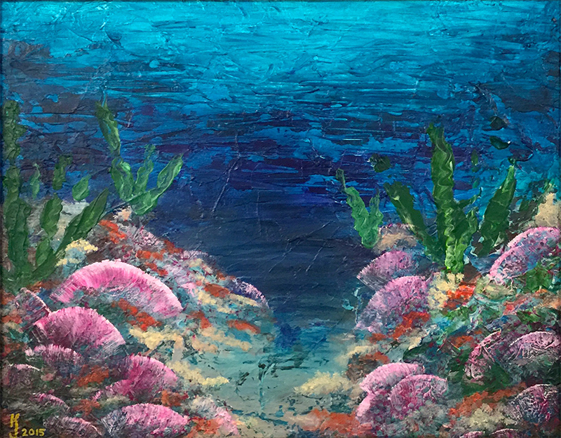Ozarks Art Gallery | Abstract Under the Sea - Original Seascape Pallet Knife Painting by KJ Burk