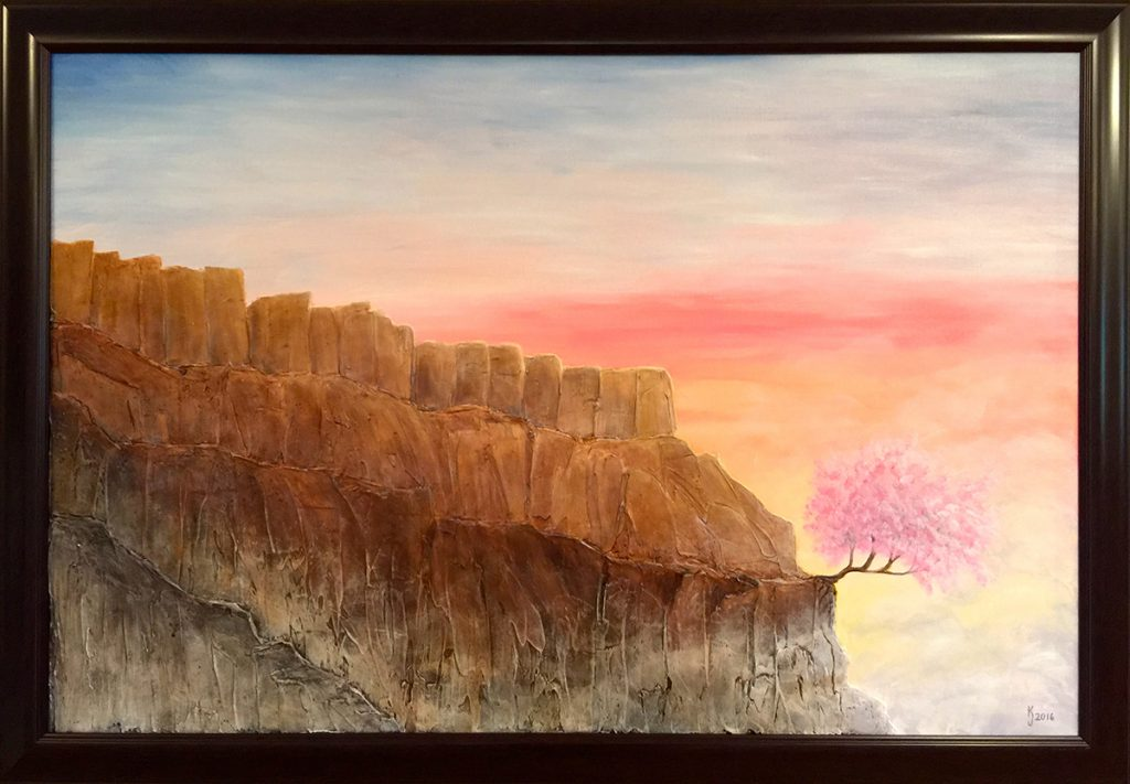 Ozarks Art Gallery | Among the Clouds - Original Heavily Textured Painting by KJ Burk