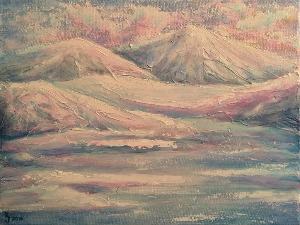 Ozarks Art Gallery   Arctic Warmth - Textured Abstract Landscape Painting by KJ Burk