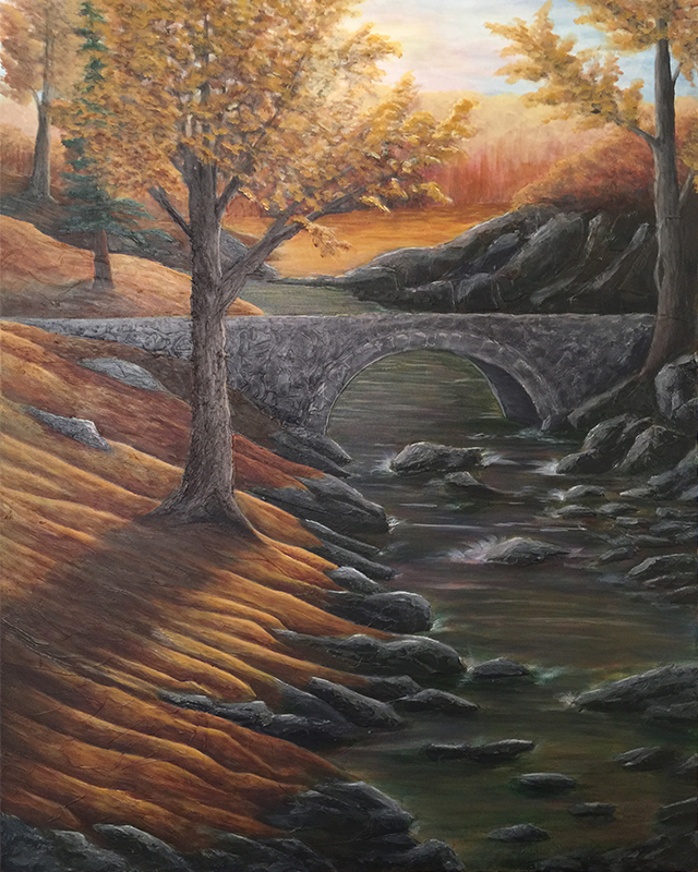 Ozarks Art Gallery | Autumn in the Ozarks - Original Heavily Textured Painting by KJ Burk
