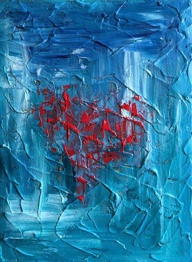 Ozarks Art Gallery | Fools Rush In - Heavily Textured Abstract Pallet Knife Painting by KJ Burk