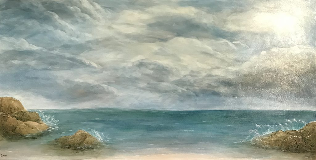 Ozarks Art Gallery | Light After the Storm - Original Textured Seascape Painting by KJ Burk
