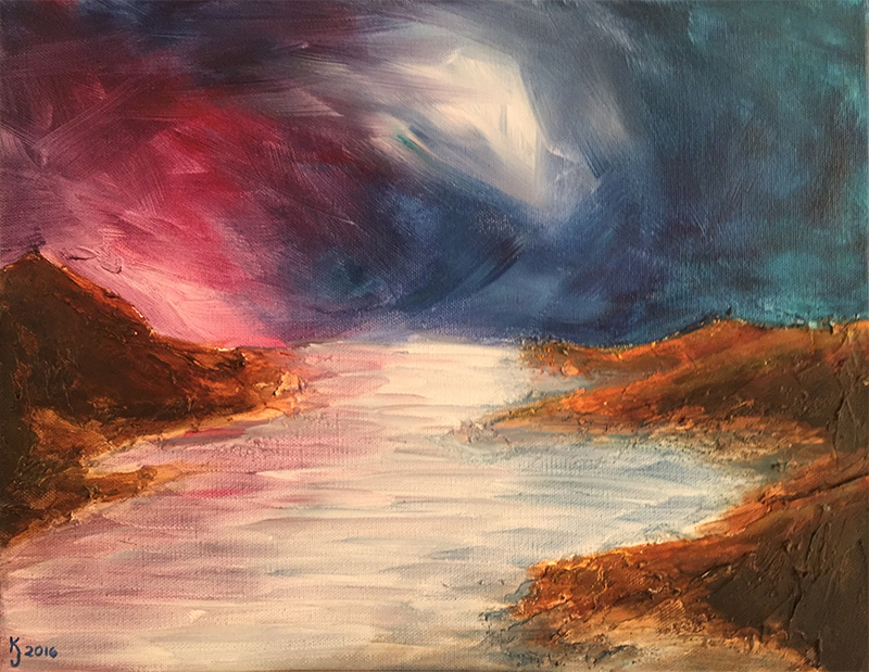 Ozarks Art Gallery | Mystic Tide - Original Heavily Textured Abstract Seascape by KJ Burk