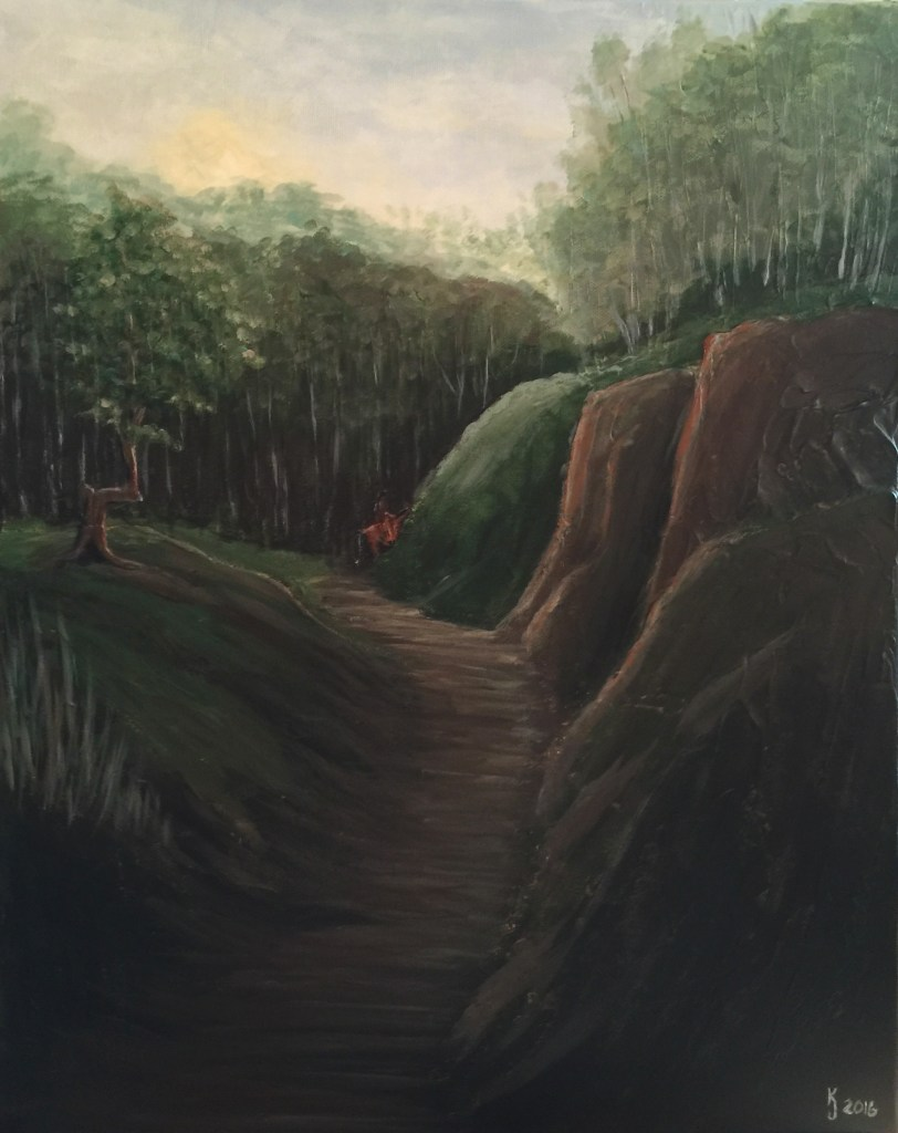 Ozarks Art Gallery | Native Trail Marker - Original Textured Painting by KJ Burk