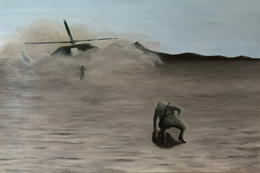 Ozarks Art Gallery | No One Left Behind - Original Textured Military Painting by KJ Burk