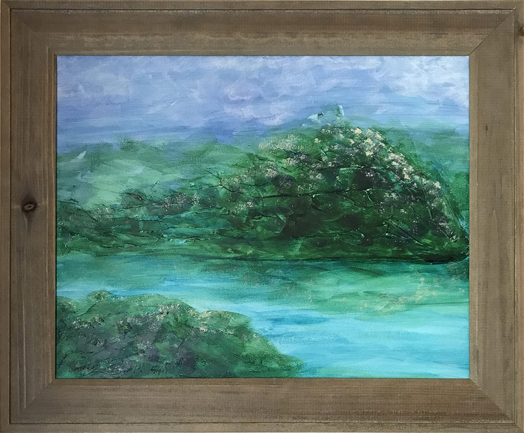 Ozarks Art Gallery | Wild Rose Bushes - Original Textured Pallet Knife Painting by KJ Burk