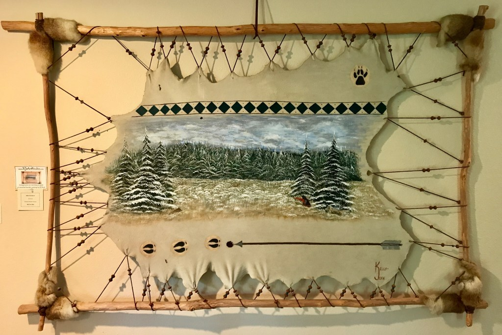 Ozarks Art Gallery | After the Storm - Original Stretched Deerskin Painting by KJ Burk
