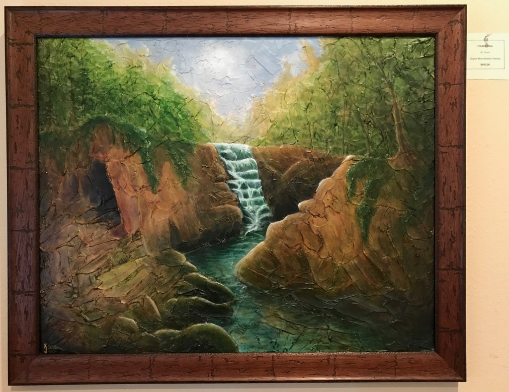 Ozarks Art Gallery | Hidden Cave - Heavily Textured Mixed Medium Landscape Painting by KJ Burk