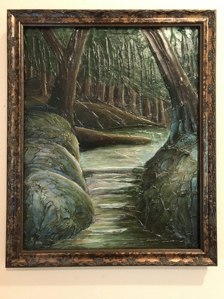 Ozarks Art Gallery | Into the Woods II - Original Heavily Textured Mixed Medium Painting by KJ Burk