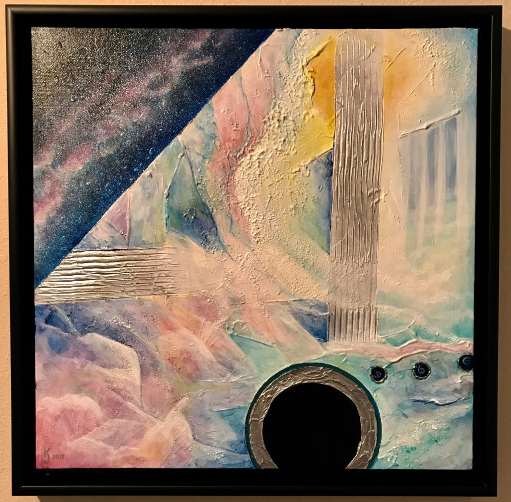 Ozarks Art Gallery | Blackhole Utopia - Original Heavily Textured Abstract Painting by KJ Burk