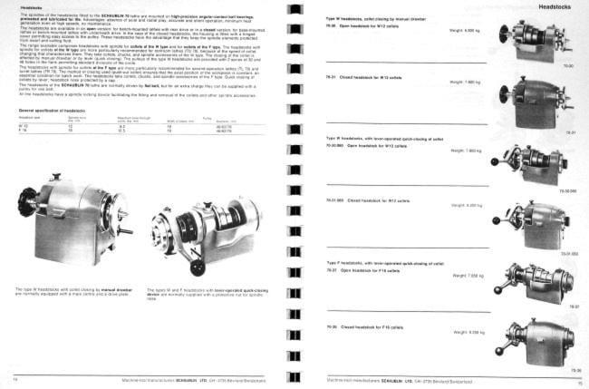 SCHAUBLIN No. 70 Series Precision Metal Lathe Catalog