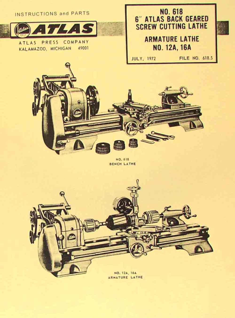 medium resolution of atlas craftsman 6 metal lathe no 618 instructions parts manual