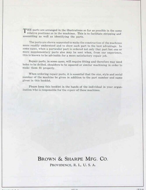 BROWN & SHARPE 2A & 2B Milling Machine Parts Manual