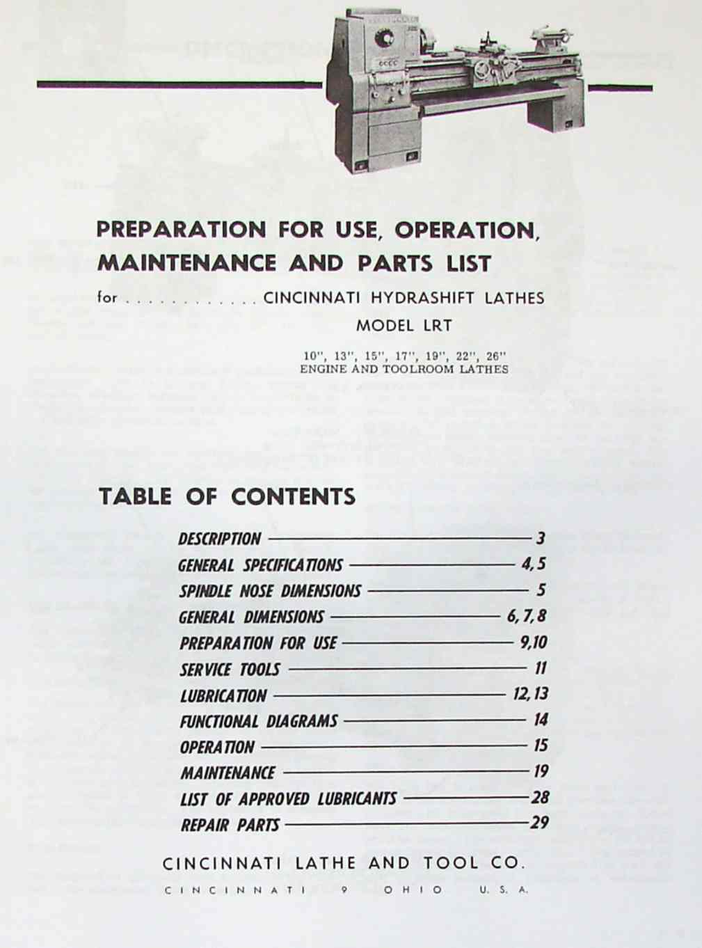 CINCINNATI LRT Metal Lathes Instruction & Parts Manual