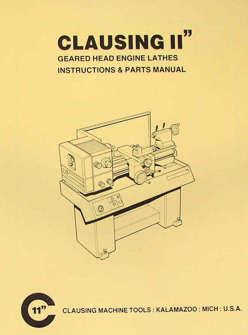 hight resolution of clausing 11 inch metal lathe instructions parts manual ozark tool manuals books