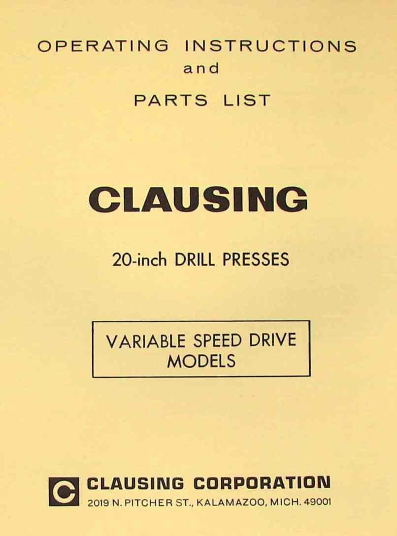 Clausing 20 Inch Variable Sd Drill Press Operator Parts Manual Replacements