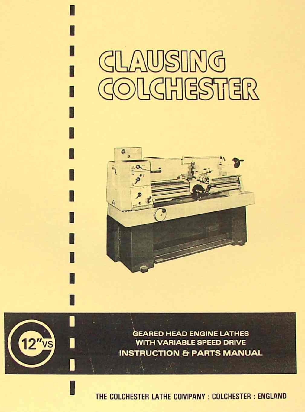 Clausing Colchester 15 Parts