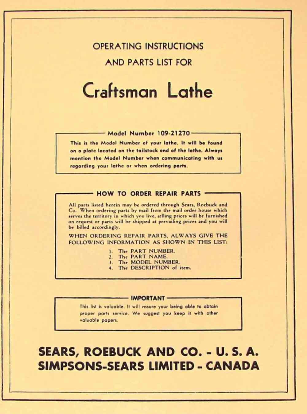 medium resolution of craftsman dunlap 6 metal lathe 109 21270 operator part manual