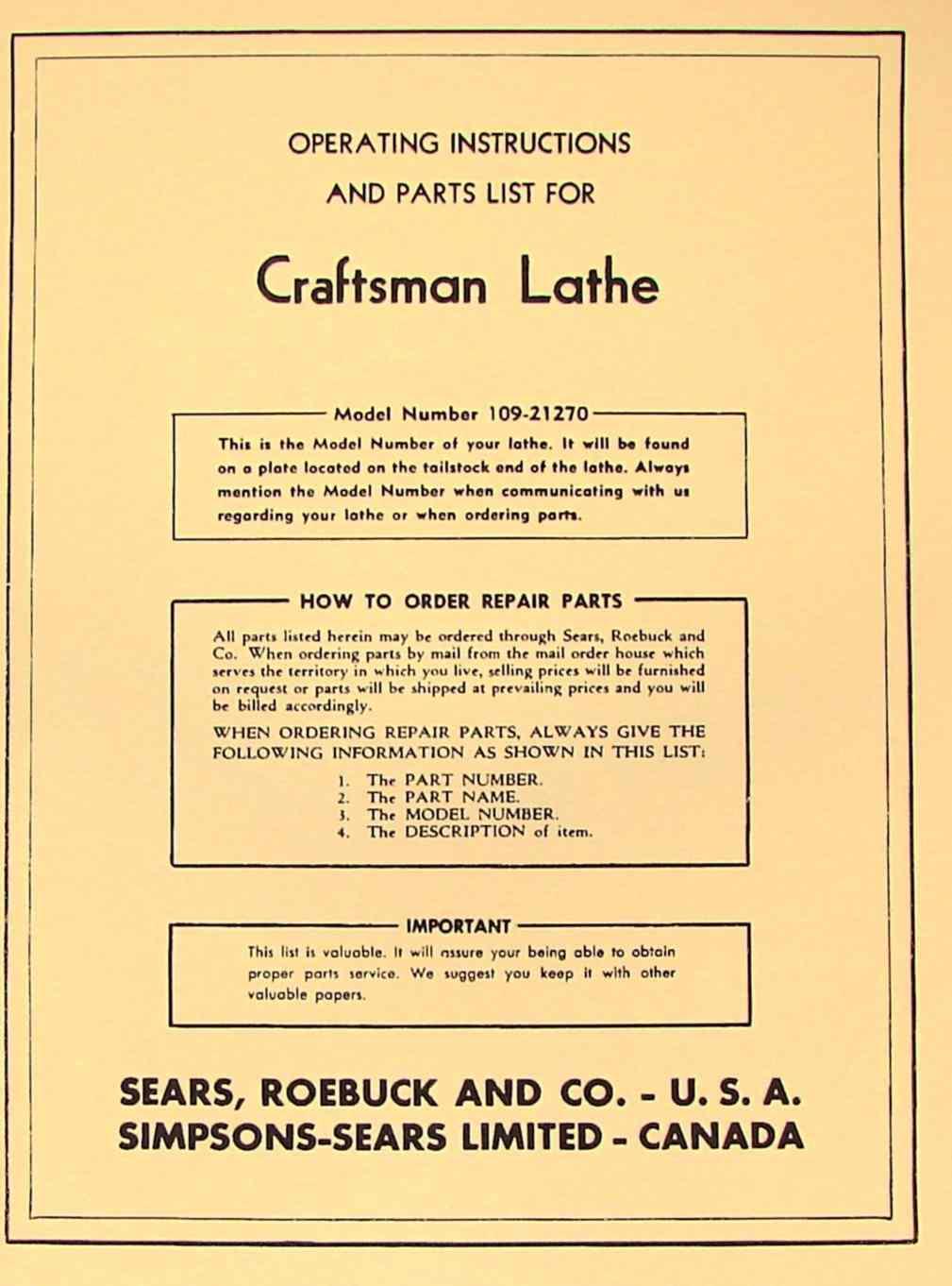 hight resolution of craftsman dunlap 6 metal lathe 109 21270 operator part manual