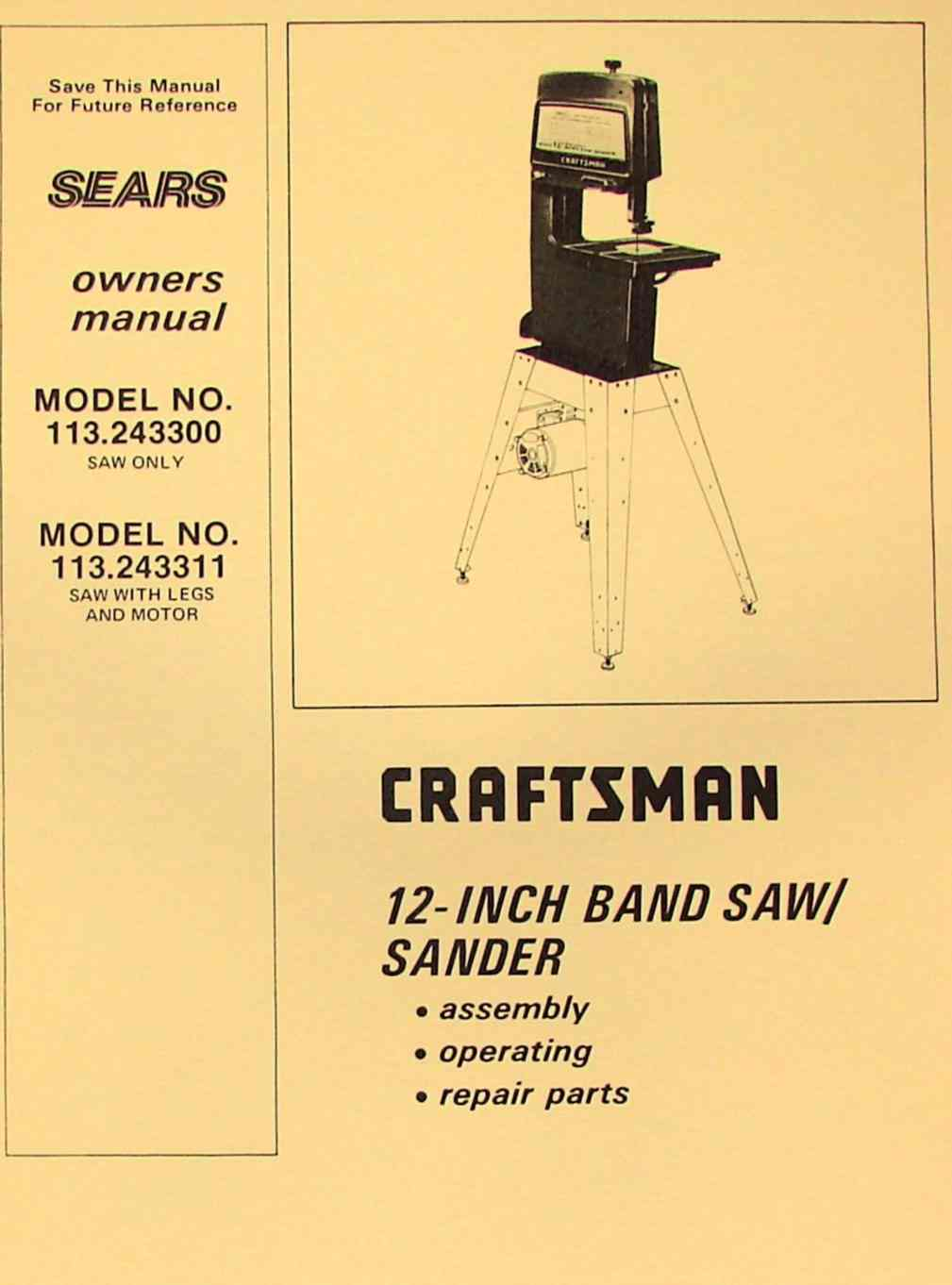 Craftsman 10 Inch Band Saw Parts