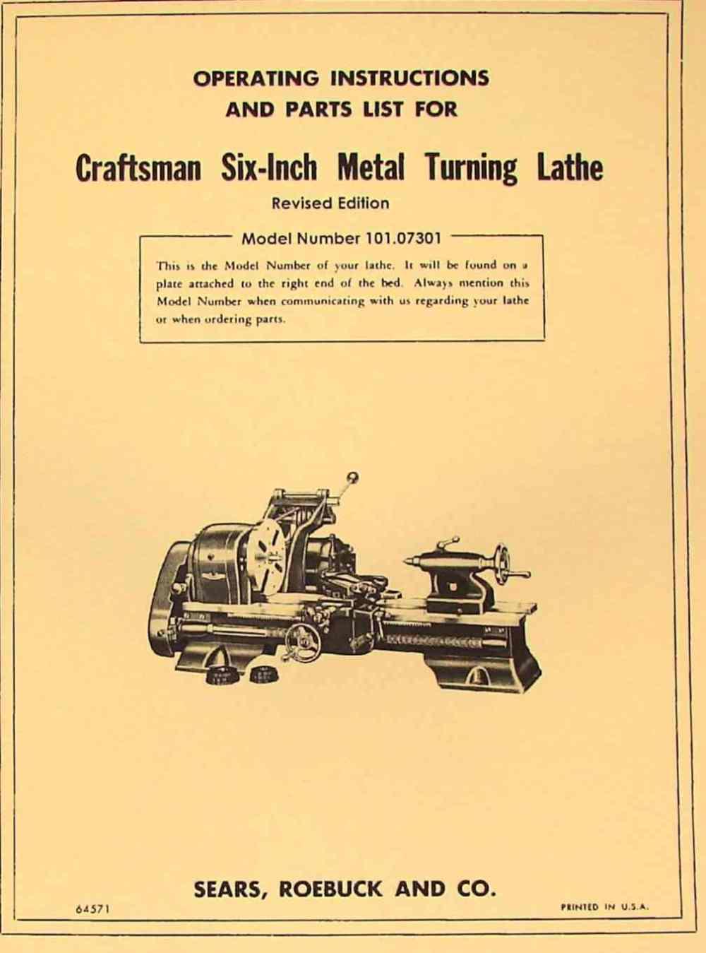 medium resolution of craftsman atlas 6 metal lathe 101 07301 owner s manual revised