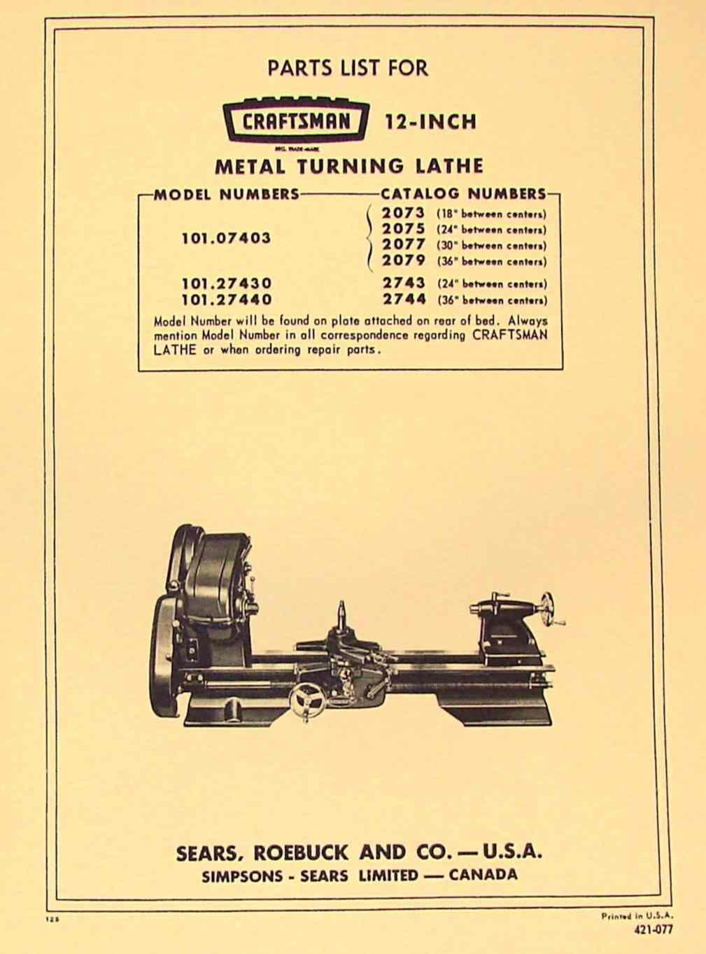 hight resolution of craftsman atlas 12 lathe 101 07403 101 27430 101 27440 parts manual