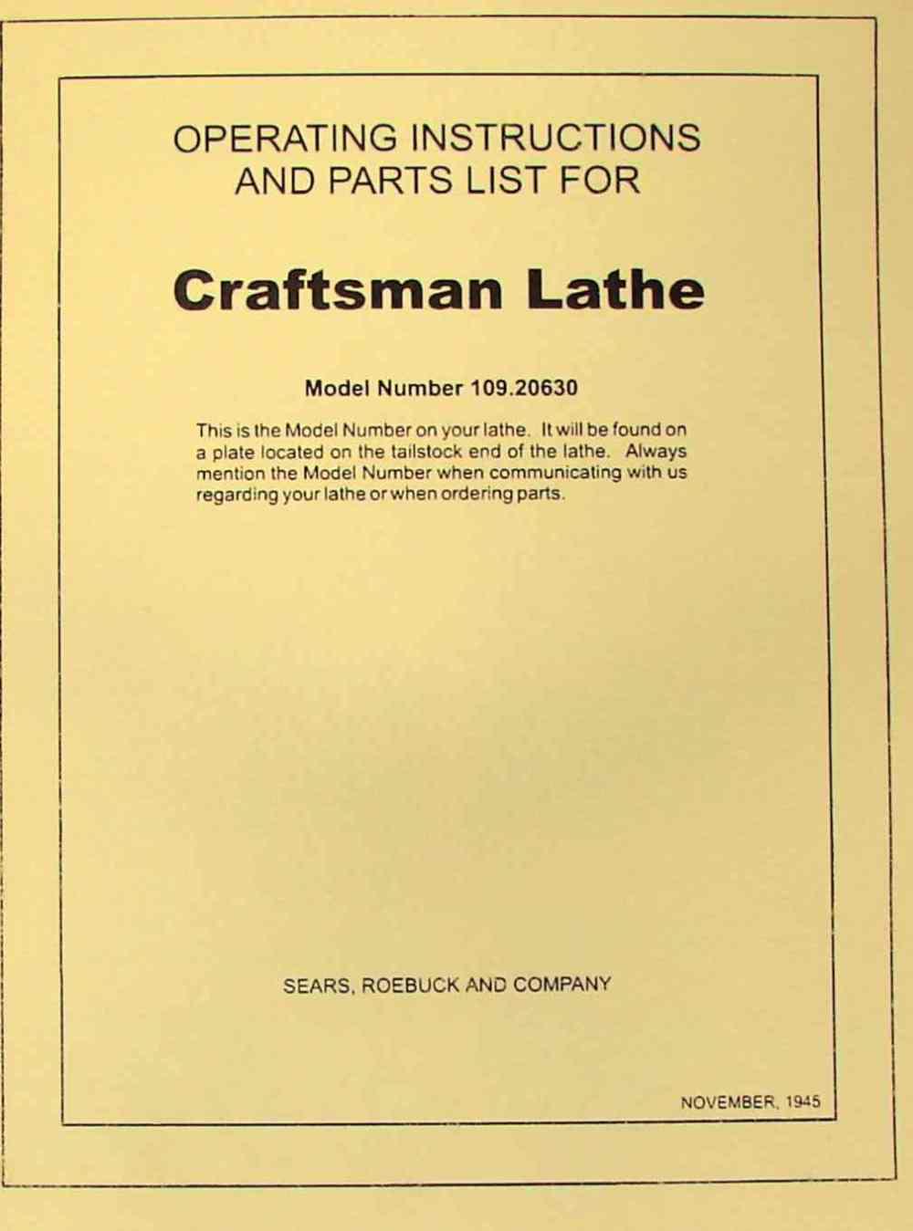 medium resolution of craftsman dunlap 6 metal lathe 109 20630 instructions parts manual