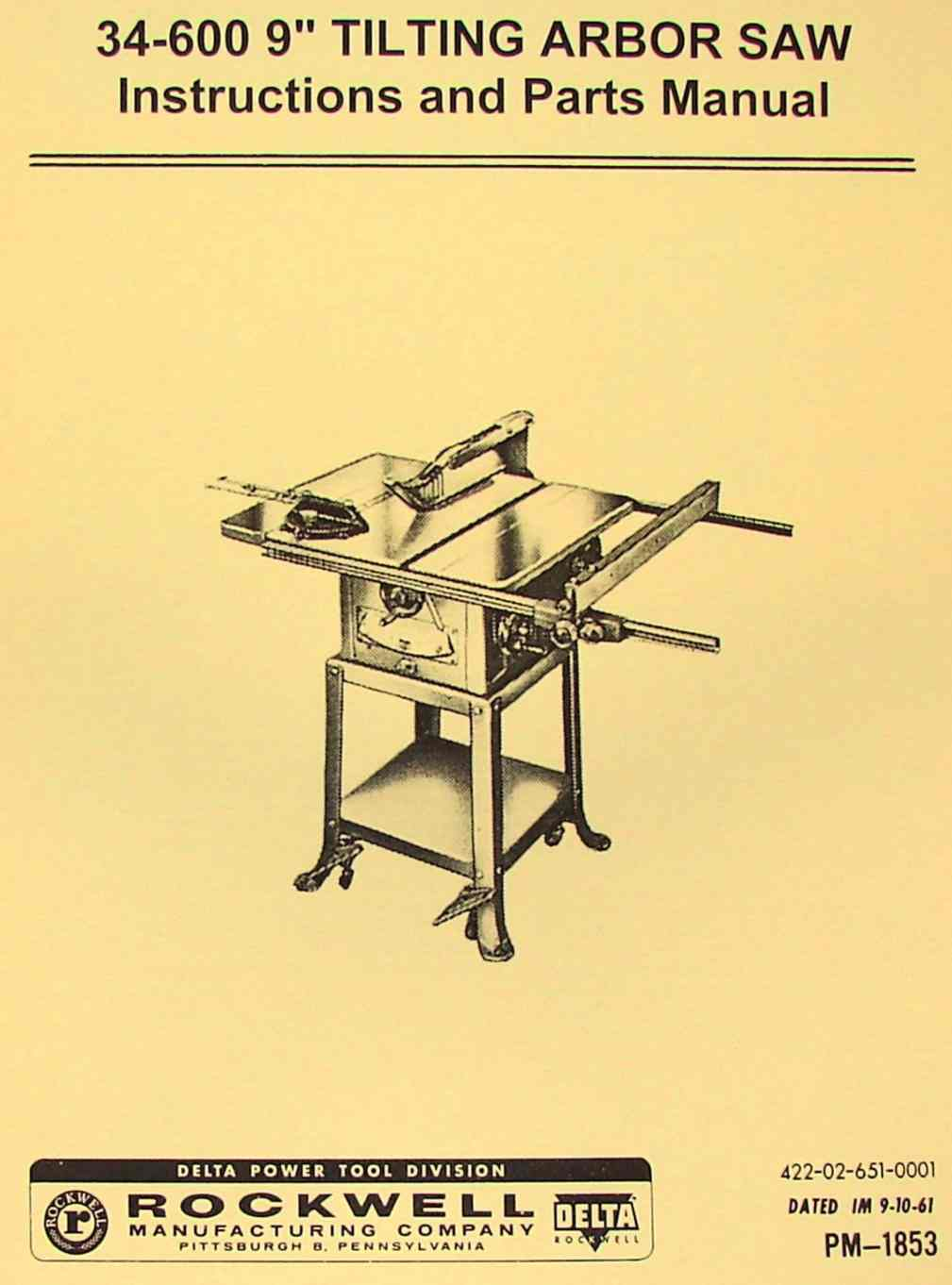 Craftsman 9 Table Saw Manual