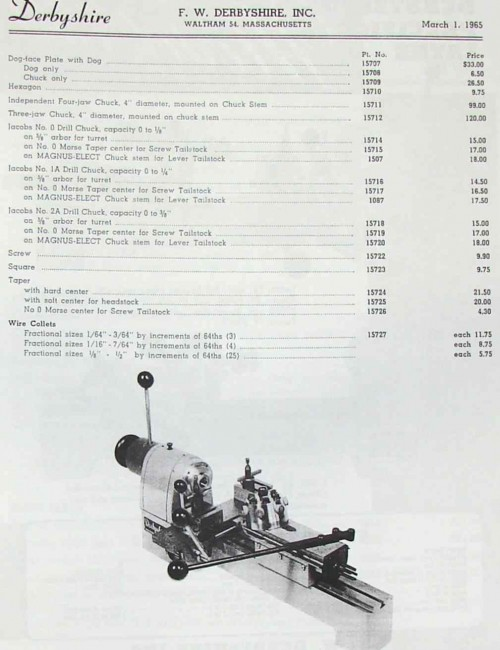 DERBYSHIRE Lathe, MicroMill, Drill Press, Part Catalog