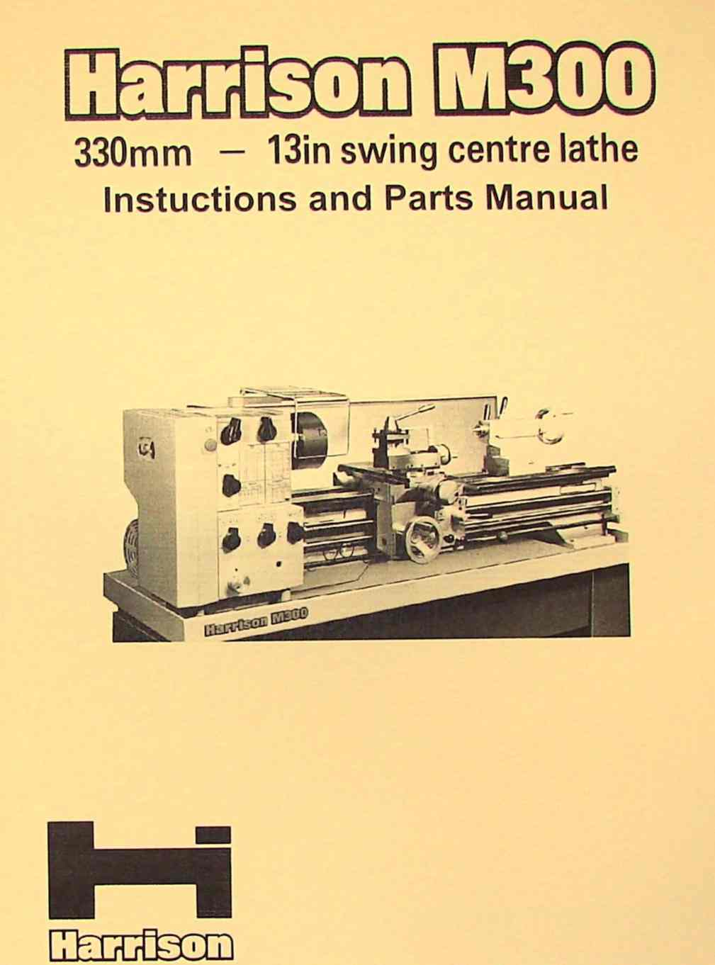 hight resolution of harrison m300 metal lathe operator and parts manual