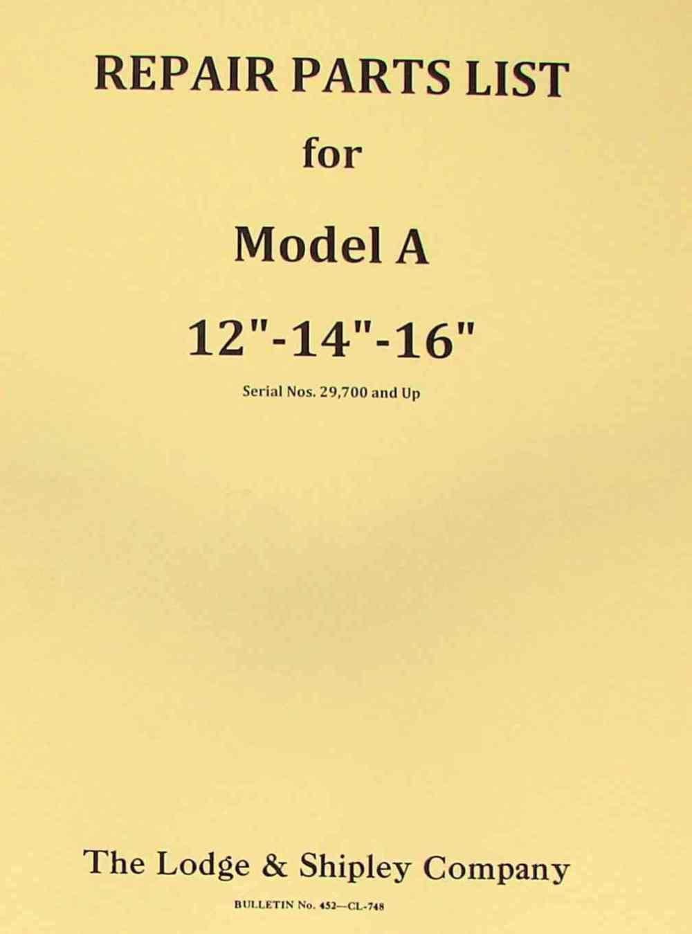 medium resolution of lodge shipley model a 12 14 16 lathe part manual ozark tool manuals books