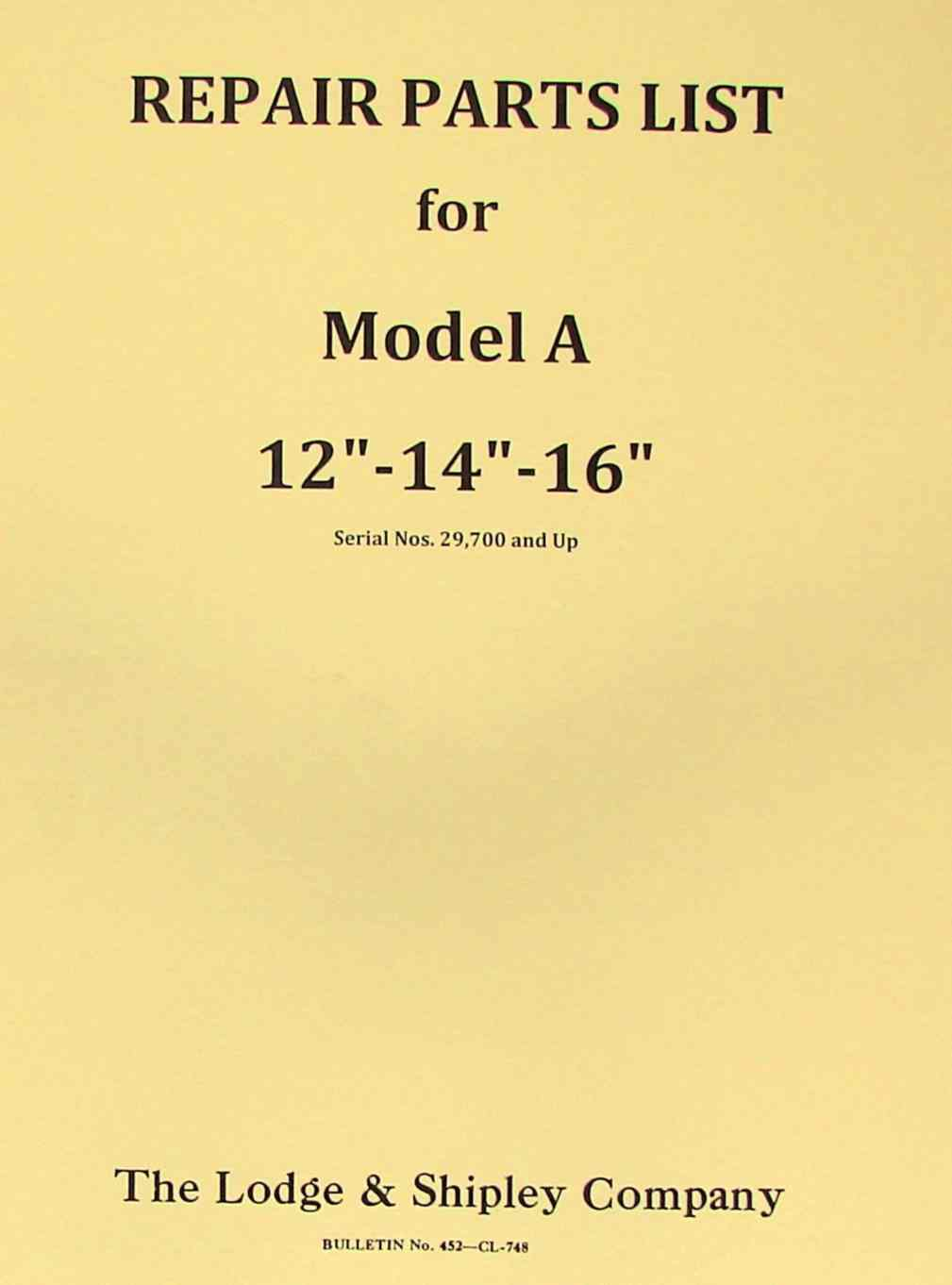 hight resolution of lodge shipley model a 12 14 16 lathe part manual ozark tool manuals books