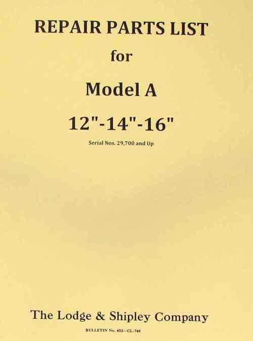small resolution of lodge shipley model a 12 14 16 lathe part manual ozark tool manuals books