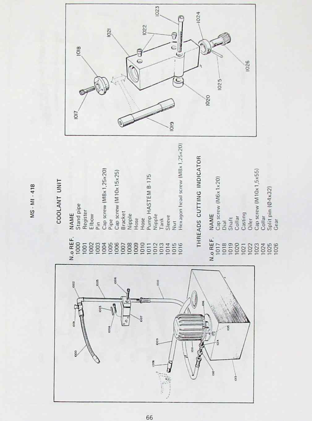 NARDINI MS-1440, 1640 S-E Mascote Lathe Part Manual