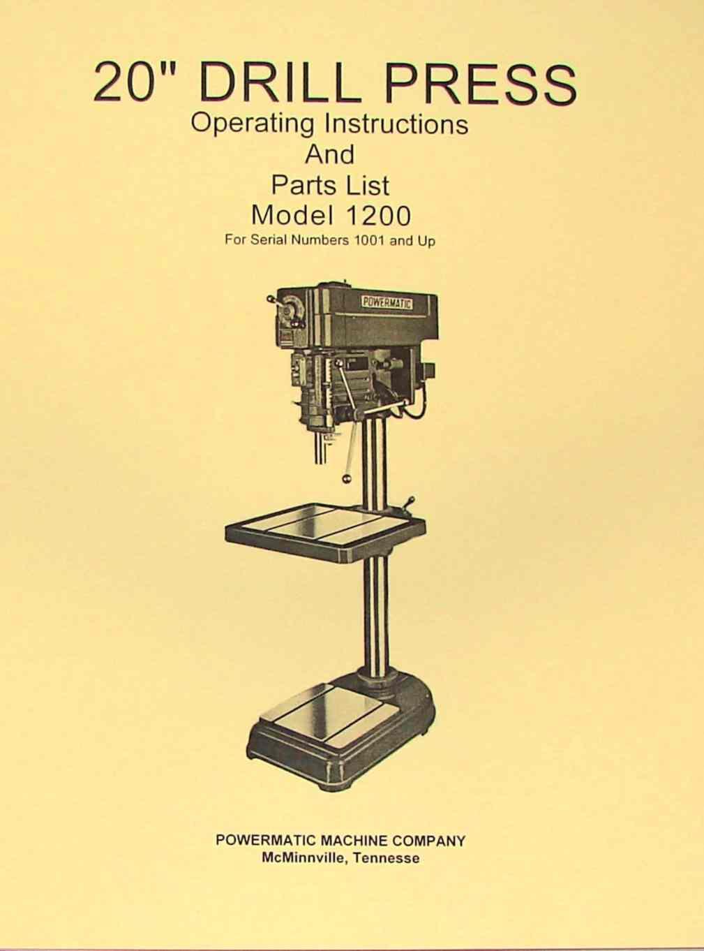 Powermatic 1140f Drill Press Manual