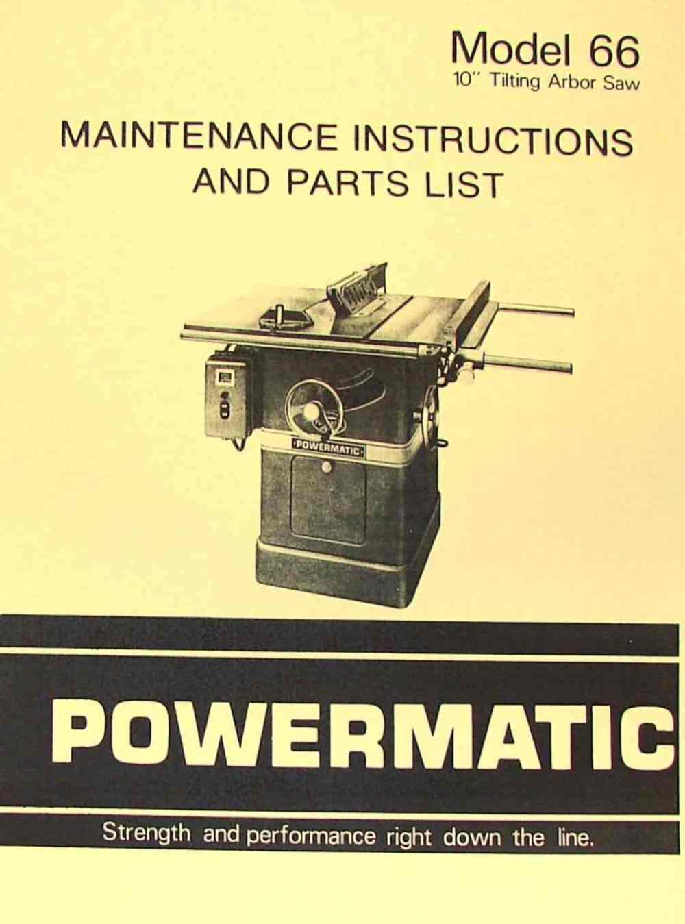 medium resolution of powermatic 66 table saw instruction part manual