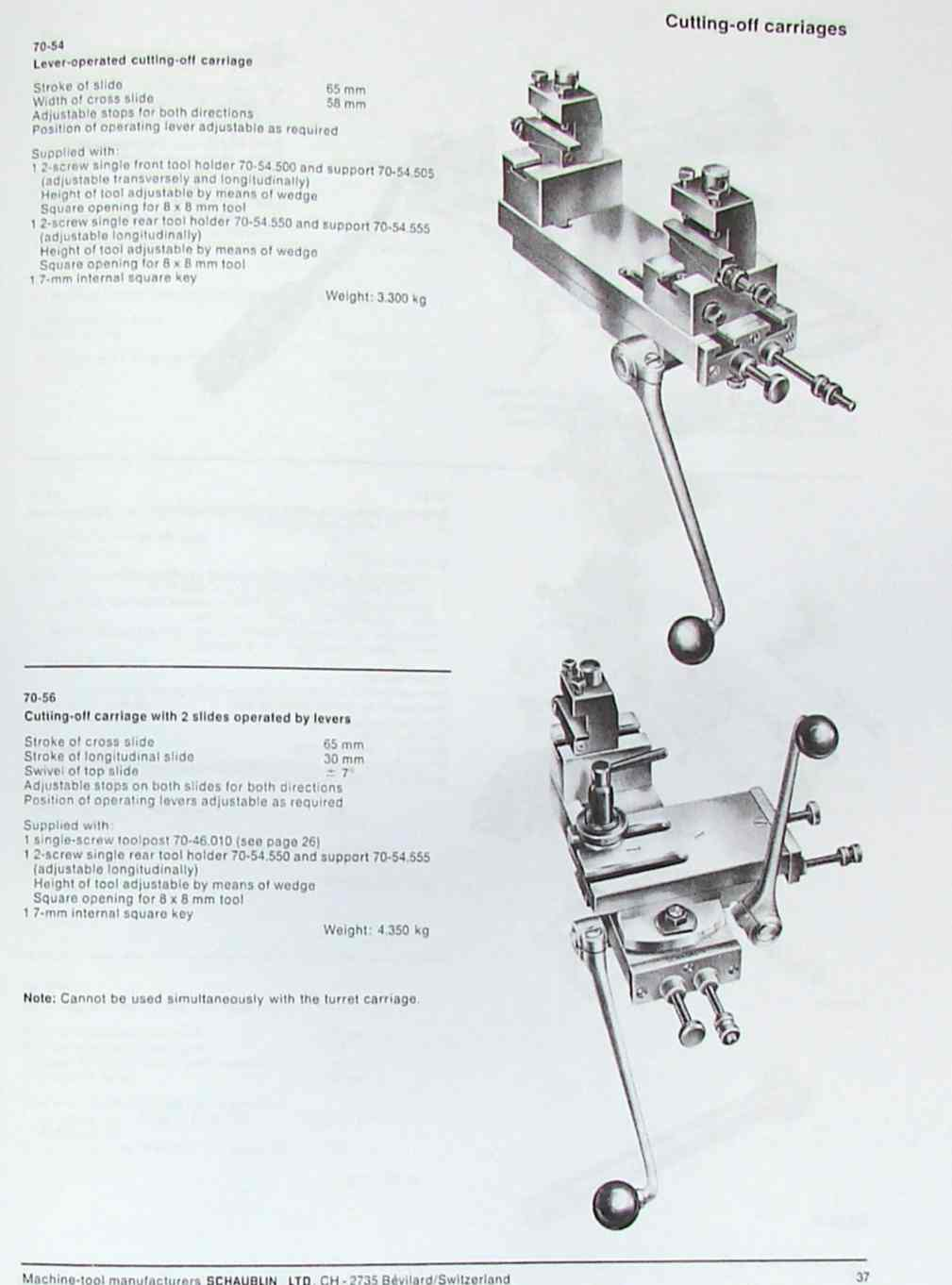 SCHAUBLIN No. 70 Series Precision Metal Lathe Catalog